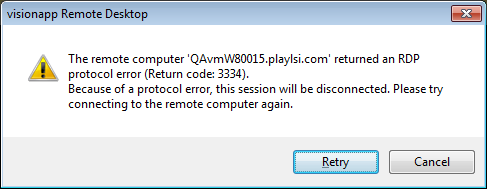 Error message 3334 using RDP connection